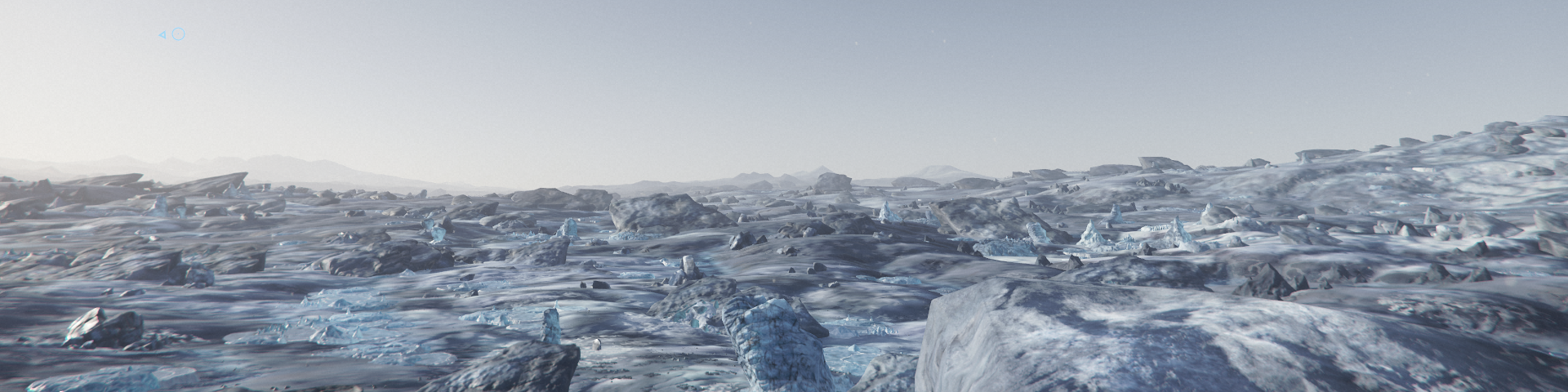 A view of the desolate, broken Lyria icescape; ice ablating in the wind, only to freeze into an icy fog in spite of the sun.